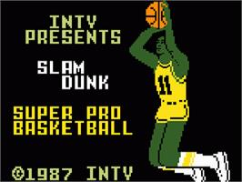 Title screen of Slam Dunk: Super Pro Basketball on the Mattel Intellivision.