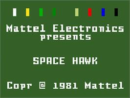 Title screen of Space Hawk on the Mattel Intellivision.
