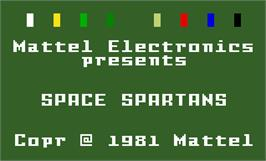 Title screen of Space Spartans on the Mattel Intellivision.
