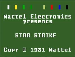 Title screen of Star Strike on the Mattel Intellivision.