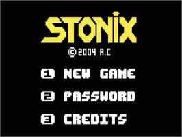 Title screen of Stonix (Beta 1.1) on the Mattel Intellivision.