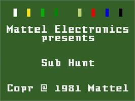 Title screen of Sub Hunt on the Mattel Intellivision.