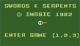 Title screen of Swords and Serpents on the Mattel Intellivision.