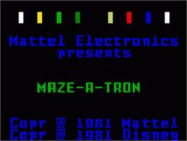 Title screen of TRON: Maze-A-Tron on the Mattel Intellivision.