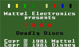 Title screen of Tron: Deadly Discs on the Mattel Intellivision.