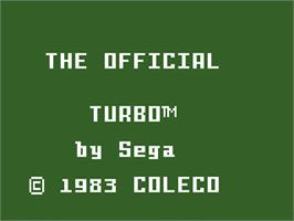 Title screen of Turbo on the Mattel Intellivision.