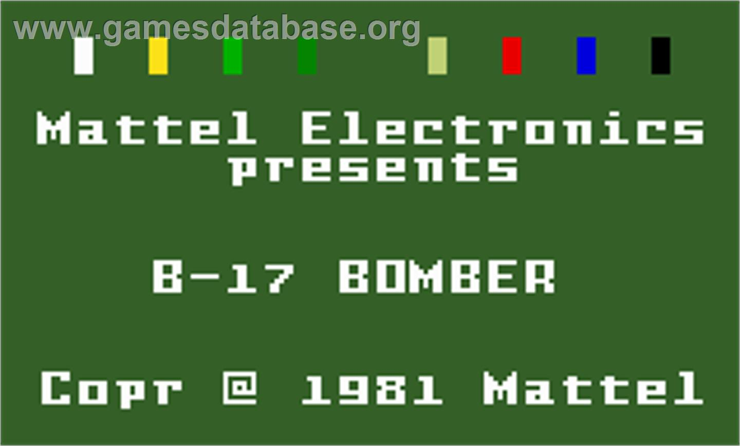 B-17 Bomber - Mattel Intellivision - Games Database