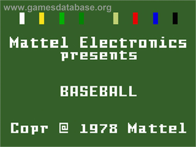 Baseball - Mattel Intellivision - Games Database