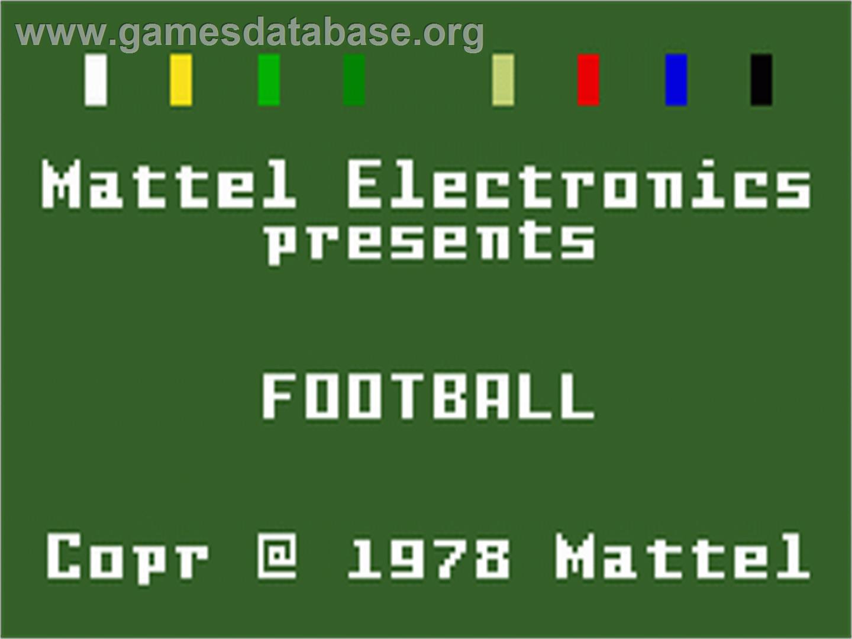 NFL Football - Mattel Intellivision - Games Database