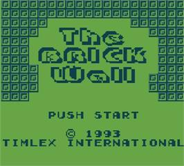 Title screen of The Brick Wall on the Mega Duck.