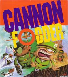 Box cover for Cannon Fodder on the Microsoft DOS.
