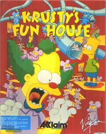 Box cover for Krusty's Fun House on the Microsoft DOS.