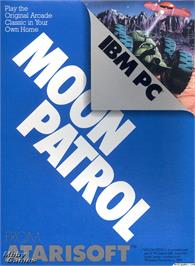 Box cover for Moon Patrol on the Microsoft DOS.