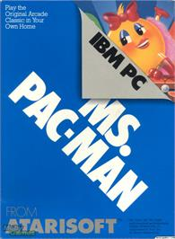 Box cover for Ms. Pac-Man on the Microsoft DOS.
