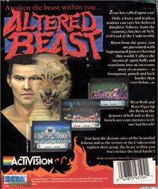 Box back cover for Altered Beast on the Microsoft DOS.
