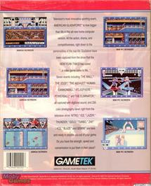 Box back cover for American Gladiators on the Microsoft DOS.