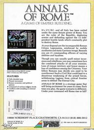 Box back cover for Annals of Rome on the Microsoft DOS.