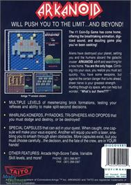Box back cover for Arkanoid on the Microsoft DOS.