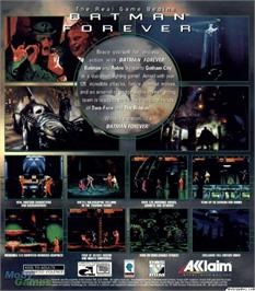 Box back cover for Batman Forever on the Microsoft DOS.