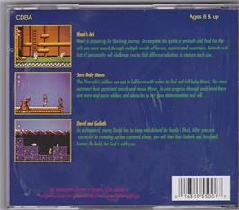 Box back cover for Bible Adventures on the Microsoft DOS.