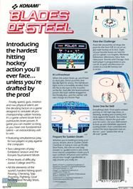 Box back cover for Blades of Steel on the Microsoft DOS.