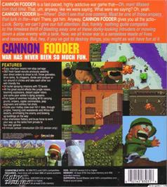 Box back cover for Cannon Fodder on the Microsoft DOS.