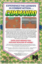 Box back cover for Commando on the Microsoft DOS.