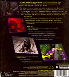 Box back cover for Creature Shock on the Microsoft DOS.