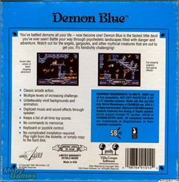 Box back cover for Demon Blue on the Microsoft DOS.