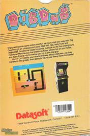 Box back cover for Dig Dug on the Microsoft DOS.