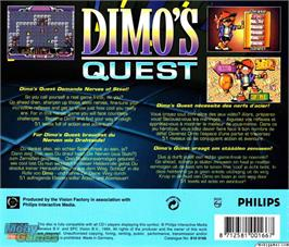 Box back cover for Dimo's Quest on the Microsoft DOS.