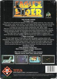 Box back cover for Eagle's Rider on the Microsoft DOS.