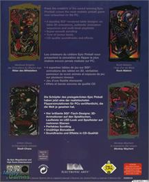 Box back cover for Extreme Pinball on the Microsoft DOS.