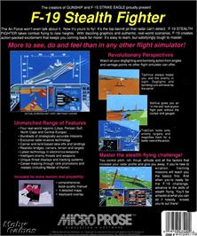 Box back cover for F-19 Stealth Fighter on the Microsoft DOS.