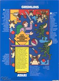 Box back cover for Gremlins on the Microsoft DOS.