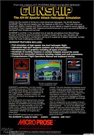 Box back cover for Gunship on the Microsoft DOS.