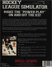 Box back cover for Hockey League Simulator on the Microsoft DOS.