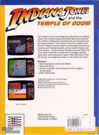 Box back cover for Indiana Jones and the Temple of Doom on the Microsoft DOS.