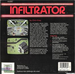 Box back cover for Infiltrator on the Microsoft DOS.
