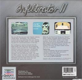Box back cover for Infiltrator II on the Microsoft DOS.