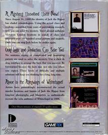 Box back cover for Jack the Ripper on the Microsoft DOS.