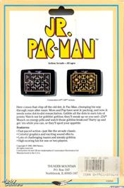 Box back cover for Jr. Pac-Man on the Microsoft DOS.