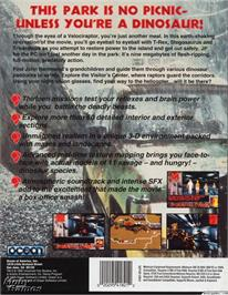 Box back cover for Jurassic Park on the Microsoft DOS.