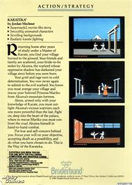 Box back cover for Karateka on the Microsoft DOS.