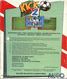 Box back cover for Kick Off 2 on the Microsoft DOS.