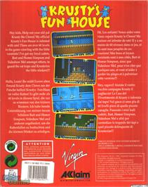 Box back cover for Krusty's Fun House on the Microsoft DOS.