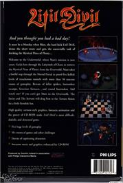 Box back cover for Litil Divil on the Microsoft DOS.