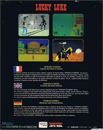 Box back cover for Lucky Luke on the Microsoft DOS.