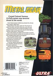 Box back cover for Metal Gear on the Microsoft DOS.