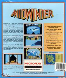 Box back cover for Midwinter on the Microsoft DOS.